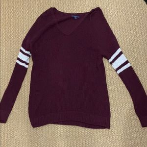 American Eagle burgundy and white sweater Small